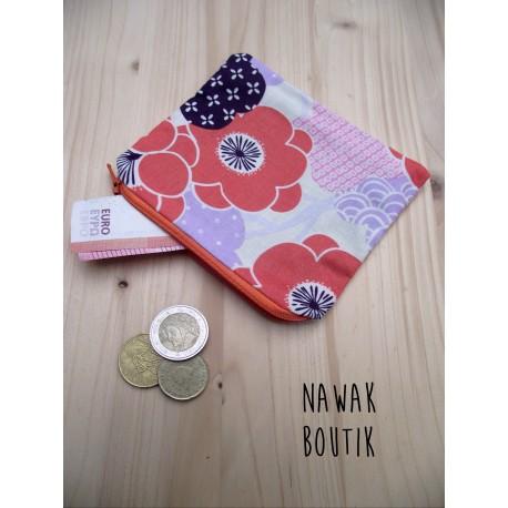Porte Monnaie - Fleurs japonaises orange