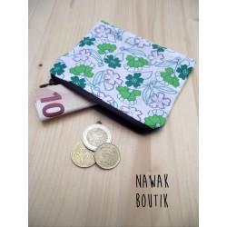 Porte Monnaie - Fleurs vertes