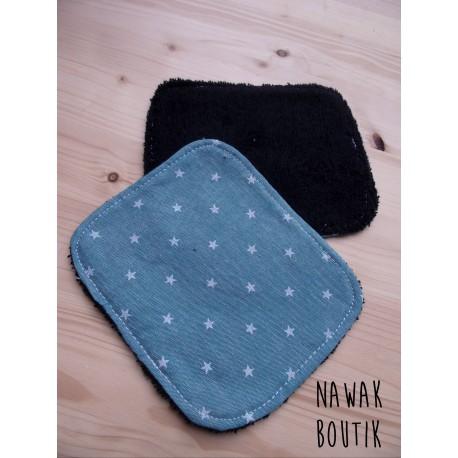 Lingette lavable étoiles bleues