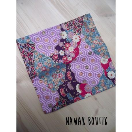 Mouchoir en tissu - Mosaique violette